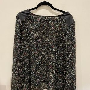 Loft floral blouse with faux leather shoulders
